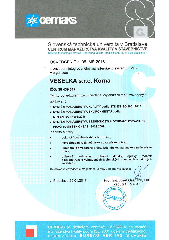 Technické oprávnenia veselka s.r.o. - ISO