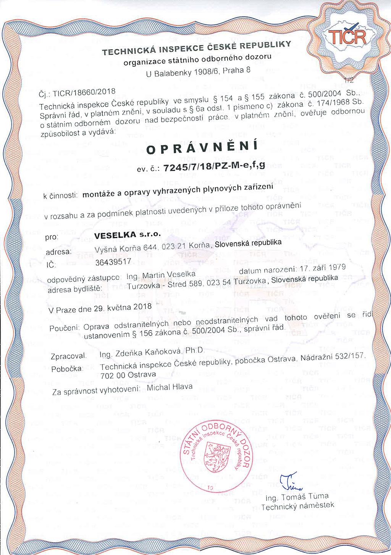 Technické oprávnenia veselka s.r.o. - technická inspekce